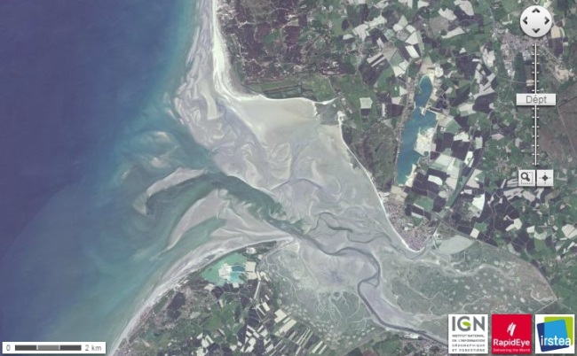 phoque baie de somme - satellitte a maree basse