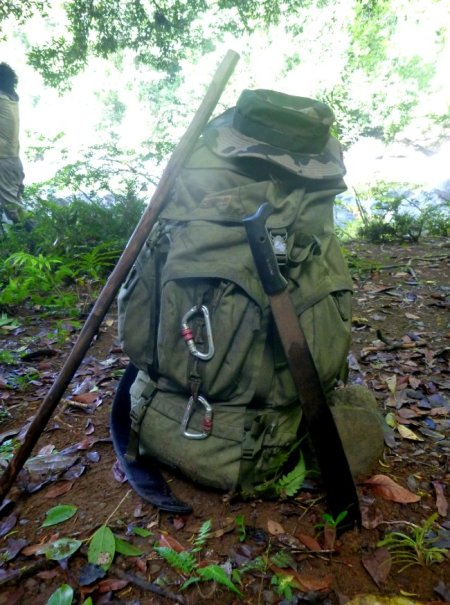 Mon sac à dos de survie jungle.